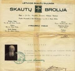 Lietuvos Skautų Sąjungos globėjo ir rėmėjo liudijimas