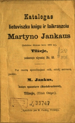 Knyga Katalogas lietuviszku knigu ir laikraszciu Martyno Jankaus