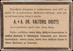 Pranešimas Australijos spaudoje apie Dr. Valterio Didžio mirtį